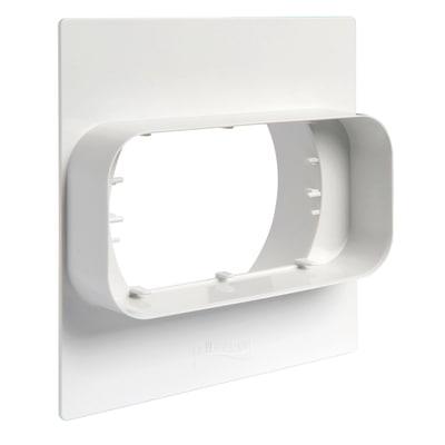 Placca finizione Muro Ø100 - tubo rettangolare  L 6 - 12 cm bianco