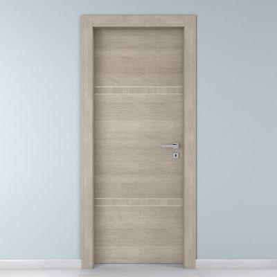Porta da interno battente Chasing rovere chiaro 70 x H 210 cm sx