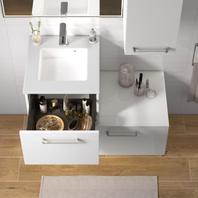 Mobile bagno Neo Line L 45 x P 48 x H 32 cm 1 cassetto bianco