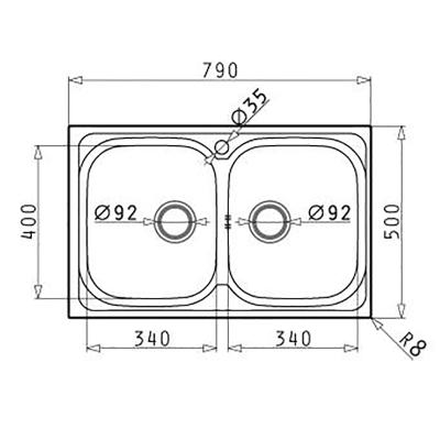 Lavello incasso Amaltia L 79 x P  50 cm 2 vasche
