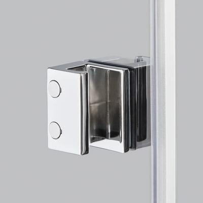 Doccia con porta battente e lato fisso Neo 87 - 89 x 77 - 79 cm, H 200 cm vetro temperato 6 mm trasparente/nero