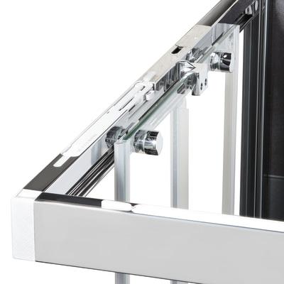 Doccia con porta scorrevole e lato fisso Neo 132 - 136 x 77 - 79 cm, H 200 cm vetro temperato 6 mm trasparente/bianco opaco