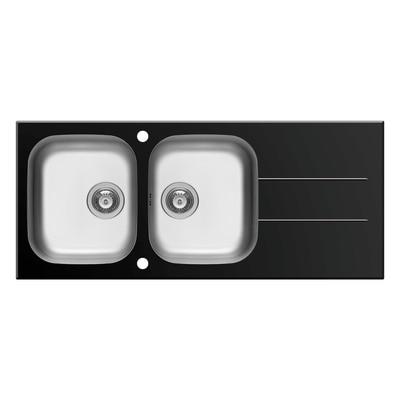 Lavello incasso Concerto nero L 116 x P  50 cm 2 vasche + gocciolatoio