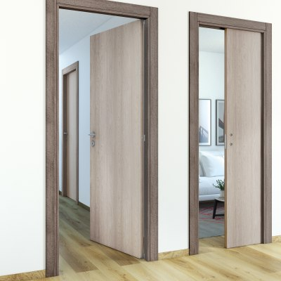 Porta da interno scorrevole One frassino/brown 80 x H 210 cm reversibile