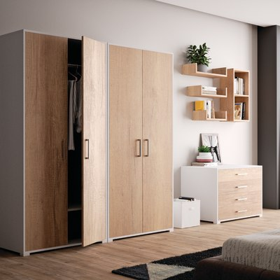 Set 3 mensole a U Spaceo rovere naturale, sp 2,2 cm