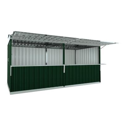 chiosco in metallo Cuba c/mensole 12,7 m², 2 ribalte