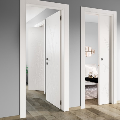 Porta da interno battente Blades white bianco 70 x H 210 cm dx