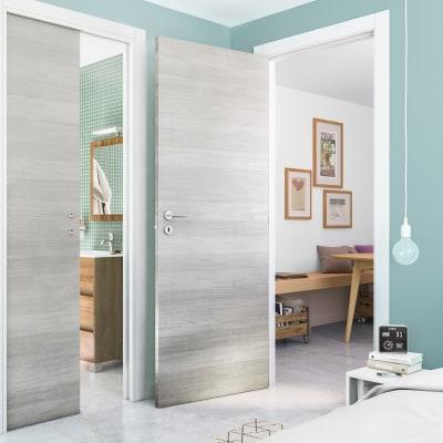 Porta da interno scorrevole One ecru/white 60 x H 210 cm reversibile