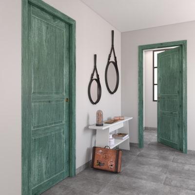 Porta da interno battente Old Town verde sbiancato 60 x H 210 cm reversibile