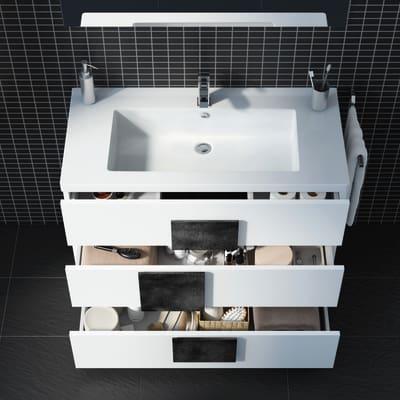 Mobile bagno Bark larice bianco L 105 cm