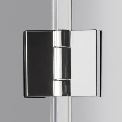 Doccia con porta pieghevole e lato fisso Neo 92 - 96 x 77 - 79 cm, H 201,7 cm vetro temperato 6 mm trasparente/silver