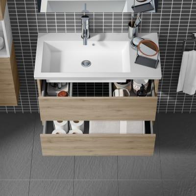 Mobile bagno Style acero campestre L 84 cm