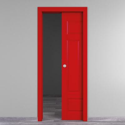 Porta da interno scorrevole Coconut Groove rosso 60 x H 210 cm reversibile