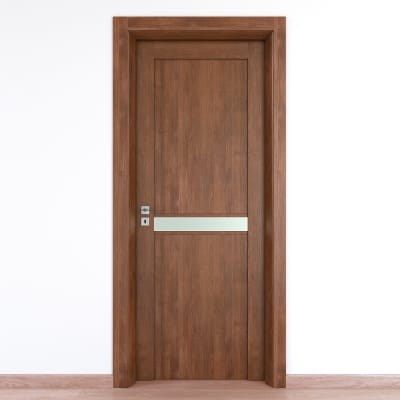 Porta da interno battente Spyhole nut larice noce 60 x H 210 cm dx