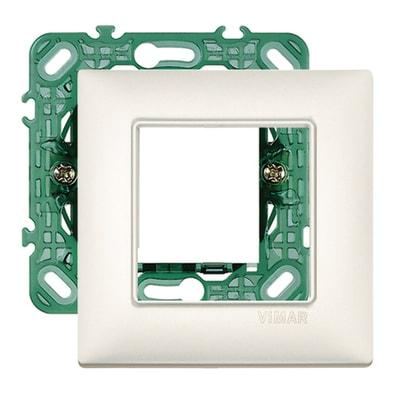 Placca 2 moduli Vimar Plana argento perlato