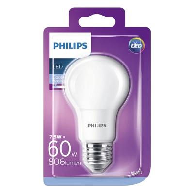 Lampadina LED Philips E27 =60W goccia luce fredda 220°