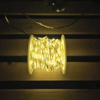 Catena luminosa 400 Led classica gialla 24 m