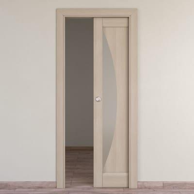 Porta da interno scorrevole Halfmoon paglia 70 x H 210 cm reversibile