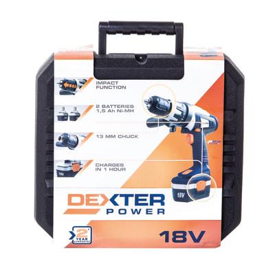 Trapano avvitatore con percussione Dexter, 18 V 1,5 Ah, 2 batterie