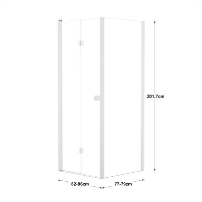 Doccia con porta pieghevole e lato fisso Neo 82 - 86 x 77 - 79 cm, H 201,7 cm vetro temperato 6 mm trasparente/bianco opaco