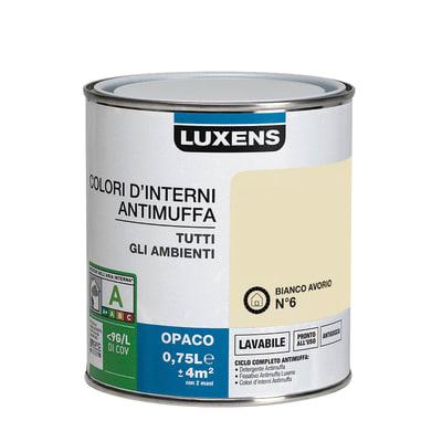 Idropittura lavabile Antimuffa Bianco Avorio 6 0,75 L Luxens