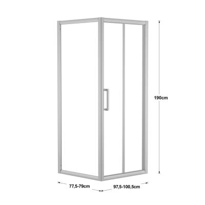 Doccia con porta pieghevole e lato fisso Quad 97.5 - 100,5 x 77.5 - 79 cm, H 190 cm cristallo 6 mm trasparente/silver