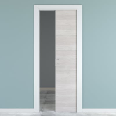 Porta da interno scorrevole One ecru/white 90 x H 210 cm reversibile