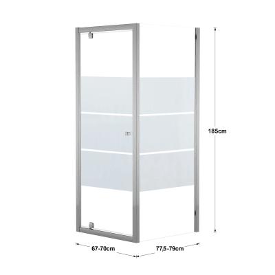 Doccia con porta battente e lato fisso Dado 67 - 70 x 77.5 - 79 cm, H 185 cm cristallo 5 mm serigrafato/silver