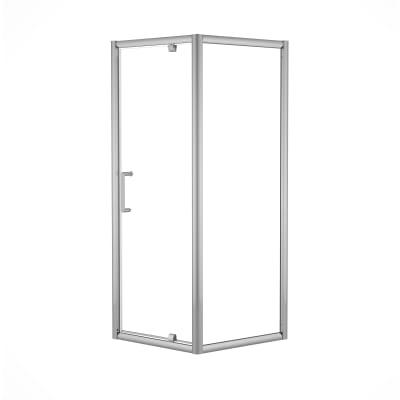 Doccia con porta battente e lato fisso Quad 97.5 - 99 x 77.5 - 79 cm, H 190 cm cristallo 6 mm trasparente/silver