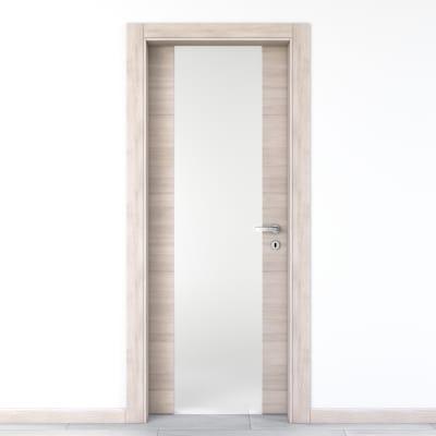 Porta da interno battente Resort Vetro Larice ghiaccio 70 x H 210 cm sx
