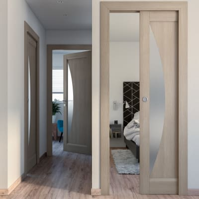 Porta da interno scorrevole Halfmoon paglia 80 x H 210 cm reversibile