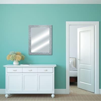 Specchio da parete rettangolare glitterata argento 62 x 82 - Specchio rettangolare da parete ...