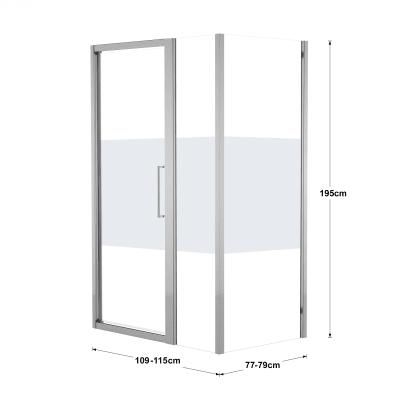 Doccia con porta battente lato fisso in linea e lato fisso Record 72 - 76 cm x 77 - 79 cm, H 195 cm vetro temperato 6 mm serigrafato/silver lucido