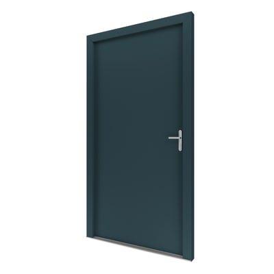 portoncino d'ingresso alluminio Basic grigio L 90 x H 210 sx