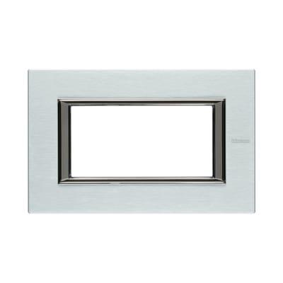 Placca 4 moduli BTicino Axolute alluminio spazzolato