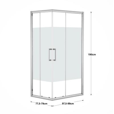 Box doccia scorrevole Quad 77.5-79 x 97,5-99, H 190 cm cristallo 6 mm serigrafato/silver