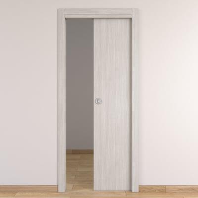 Porta da interno scorrevole Brooklyn frassino bianco 80 x H 210 cm reversibile