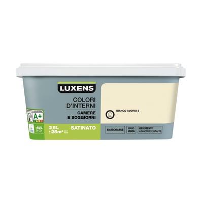 Idropittura superlavabile Smacchiabile Bianco Avorio 5 - 2,5 L Luxens