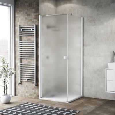 Doccia con porta battente e lato fisso Neo 97 - 99 x 77 - 79 cm, H 200 cm vetro temperato 6 mm bianco opaco