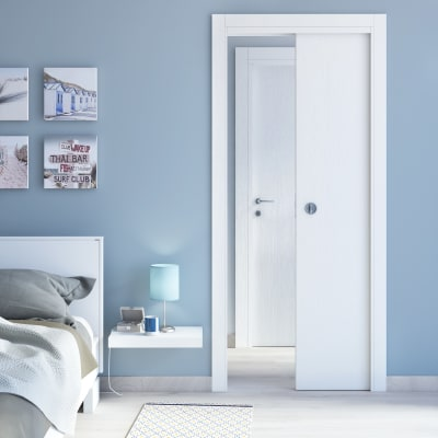 Porta da interno scorrevole Renoir bianco venato 60 x H 210 cm reversibile