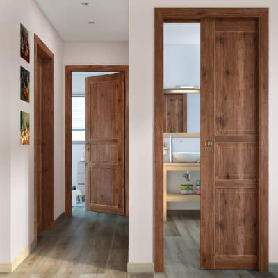 Porta da interno battente Old Town noce sbiancato 60 x H 210 cm reversibile