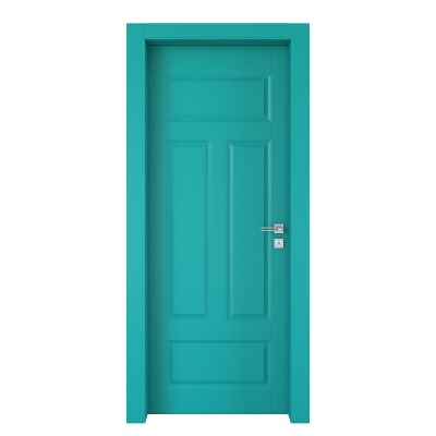 Porta da interno battente Coconut Groove azzurro 90 x H 210 cm sx