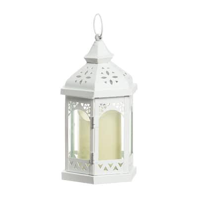 Lanterna con candela 1 minilucciole Led classica gialla P 12 x H 24,5 cm