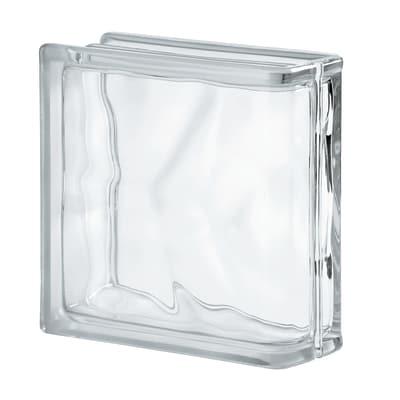 Terminale vetromattone bianco ondulato 19 x 19 x 8 cm
