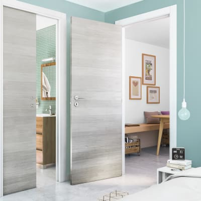 Porta da interno battente One ecru/white 80 x H 210 cm reversibile