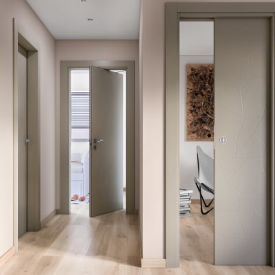 Porta da interno battente The Thing grigio 60 x H 210 cm dx