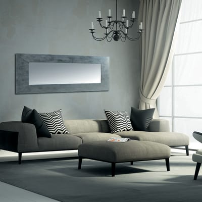 Specchio da parete rettangolare osakan argento 85 x 115 cm - Specchio rettangolare da parete ...