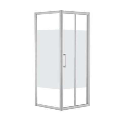Doccia con porta pieghevole e lato fisso Quad 67.5 - 70,5 x 77.5 - 79 cm, H 190 cm cristallo 6 mm serigrafato/silver