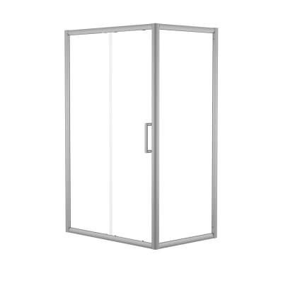 Doccia con porta scorrevole e lato fisso Quad 167.5 - 170,5 x 77.5 - 79 cm, H 190 cm cristallo 6 mm trasparente/silver