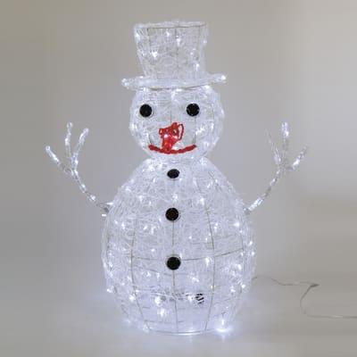 Pupazzo di neve luminoso 160 Led bianca fredda H 70 cm